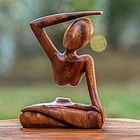 Wood statuette, 'Graceful Arc' - Indonesian Suar Wood Sculpture