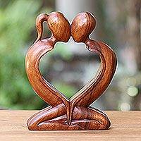 Wood statuette, 'Kiss Me Quick!' - Handcrafted Indonesian Romantic Wood Sculpture