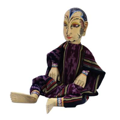 Wood display doll, 'Mystery Man' - Wood and Cotton Display Doll