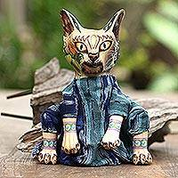 Wood display doll, 'Mystery Cat'