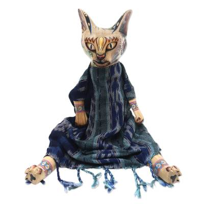 Wood display doll, 'Mystery Cat' - Wood and Cotton Decorative Display Doll