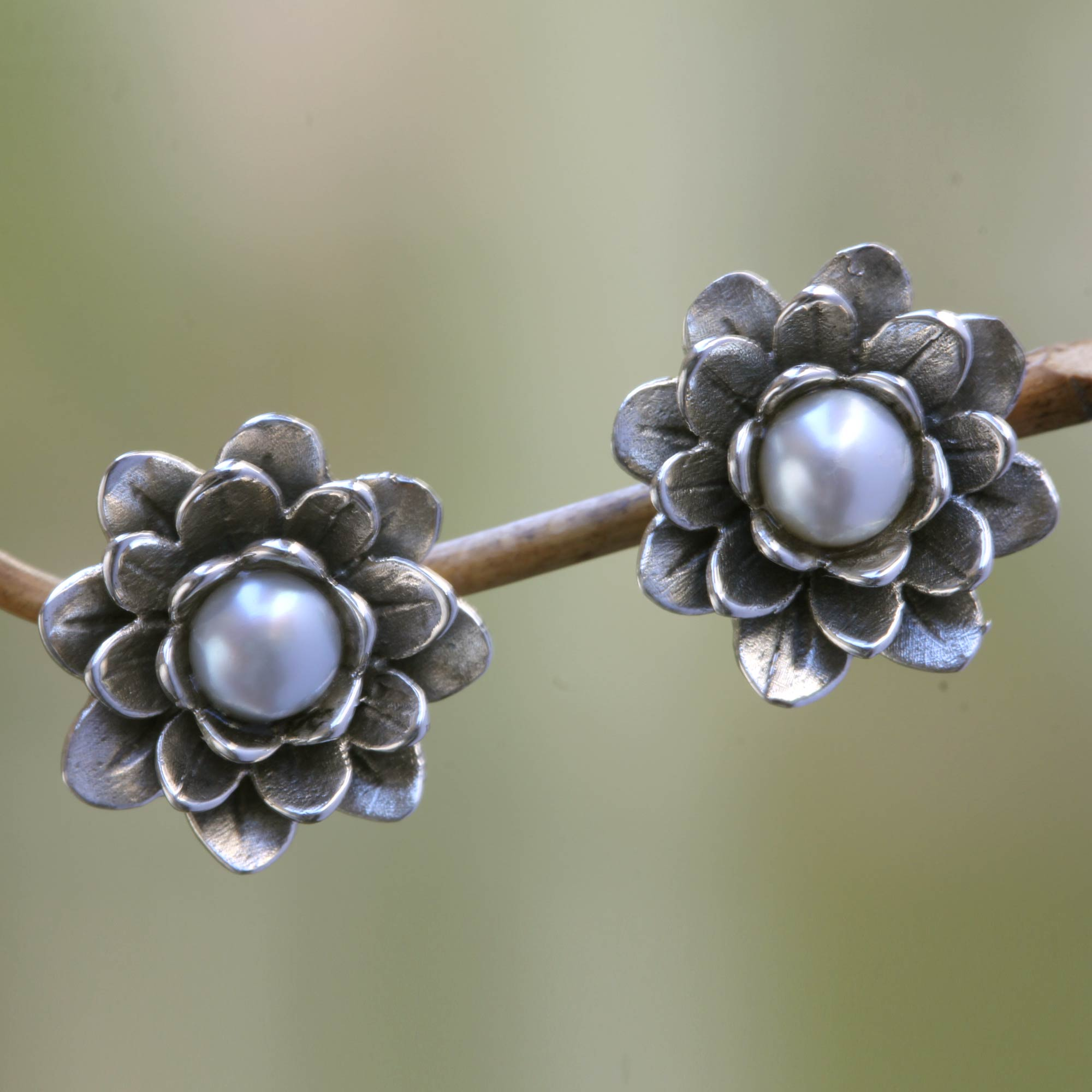 Unicef Uk Market Floral Pearl And Sterling Silver Button Earrings