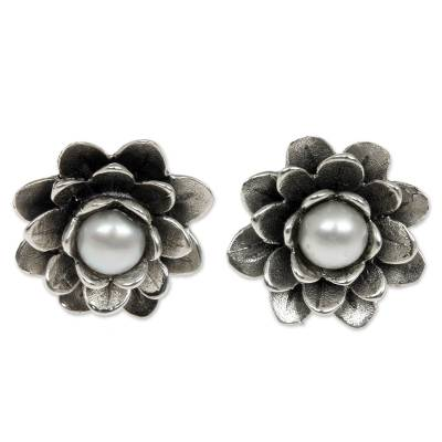 Handamde Floral Pearl Sterling Silver Button Earrings