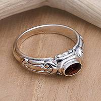 Garnet solitaire ring, 'Red Passion' - Garnet Solitaire Ring from Indonesia