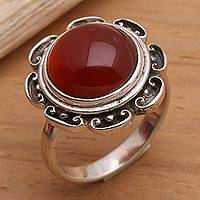 Carnelian solitaire ring, 'Lotus, Heart of Peace' - Carnelian solitaire ring