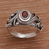 Garnet solitaire ring, 'Good Morning' - Garnet solitaire ring