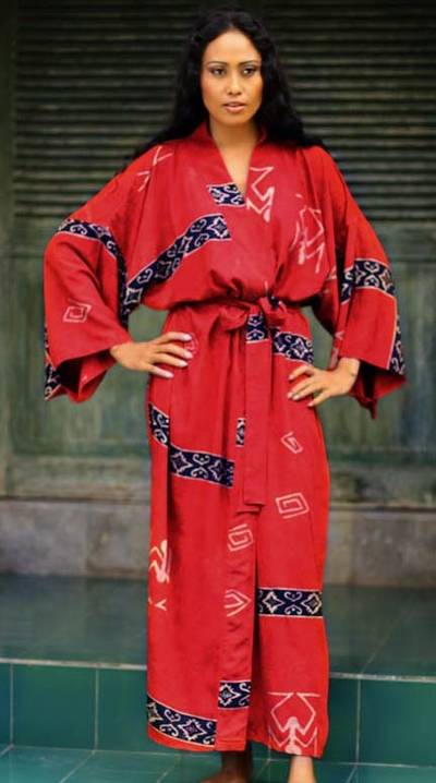 Women's batik robe, 'Cardinal Red' - Women's Artisan Crafted Batik Patterned Cardinal Red Robe