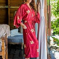 Rayon batik robe, 'Red Passion' - Handcrafted Balinese Rayon Batik Robe in Red and Yellow