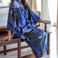 Rayon batik robe, 'Through the Seas' - Indonesian Batik Patterned Robe