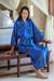 Women's batik robe, 'Deep Blue Sea' - Hand Crafted Women's Batik Patterned Robe thumbail