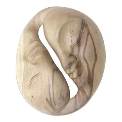 Wood mask, 'Love Circle' - Modern Hibiscus Wood Mask