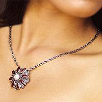 Carnelian and pearl necklace, 'Morning Bloom' - Carnelian and pearl necklace