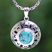 Turquoise necklace, 'Ocean Eye' - Turquoise necklace