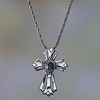 Garnet necklace, 'Blossom Cross' - Garnet necklace