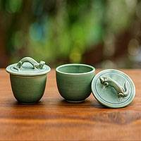 Ceramic condiment bowls, 'Lithe Gecko' (pair) - Indonesian Green Ceramic Condiment Bowls (Pair)