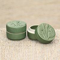 Ceramic condiment jars, 'Lotus and Dragonfly' (pair) - Dragonfly Theme Condiment Jars in Green Ceramic (Pair)