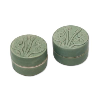 Ceramic condiment jars, 'Lotus and Dragonfly' (pair) - Dragonfly Theme Condiment Jars in Green Ceramic (Pair)