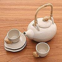 Ceramic tea set, 'White Beach' (set for 2) - Hand Made Ceramic Tea Service (Set for 2)