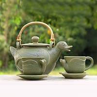 Ceramic tea set, 'Duck Family' (set for 2) - Artisan Crafted Ceramic Tea Set from Indonesia (Set for 2)