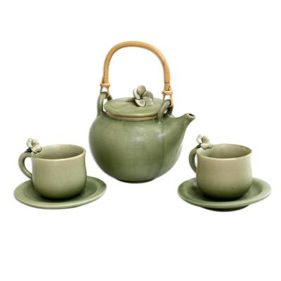 Ceramic tea set, 'Frangipani Garden' (set for 2) - Floral Ceramic Tea Set from Indonesia (Set for 2)