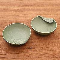 Ceramic bowls, 'Frangipani Leaves' (pair) - Ceramic bowls (Pair)