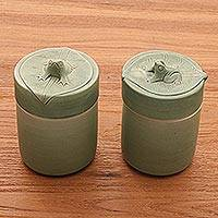 Ceramic sugar bowls, 'Lily-Frogs' (pair) - Green Ceramic Sugar Bowls (Pair)