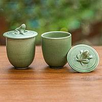 Ceramic condiment jars, 'Look at Me!' - Ceramic Condiment Jars (Set of 2)