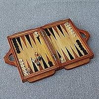 Wood travel backgammon set, 'Dolphin Guard' - Wood Backgammon Set