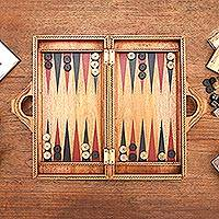 Wood backgammon set, 'Inner Secrets' - Folding Hand Carved Backgammon Set