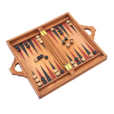 Wood backgammon set, 'Inner Secrets' - Folding Hand Carved Backgammon Set