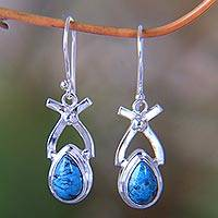 Turquoise dangle earrings, 'Temptations' - Handcrafted Turquoise and Sterling Drop Earrings