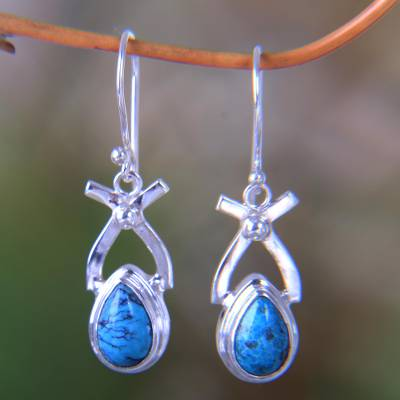 Turquoise dangle earrings, 'Temptations' - Sterling Silver Turquoise Dangle Earrings