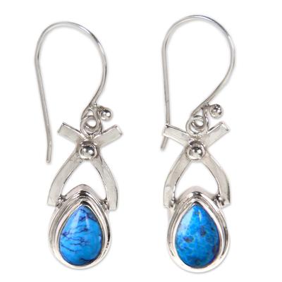 Turquoise dangle earrings, 'Temptations' - Sterling Silver Turquoise Dangle Earrings