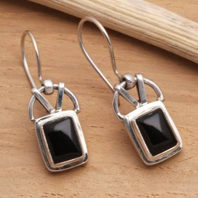 Onyx dangle earrings, 'Black Vision' - Modern Onyx Sterling Silver Dangle Earrings
