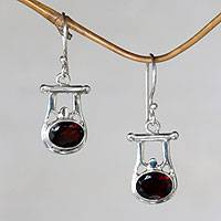 Garnet dangle earrings, 'Honor'