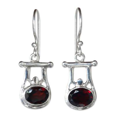 Garnet dangle earrings, 'Honor' - Indonesian Garnet and Sterling Silver Dangle Earrings