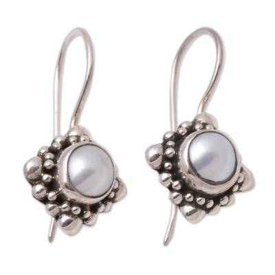 Pearl Sterling Silver Drop Earrings