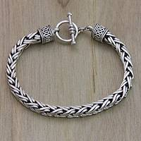 Men's sterling silver braided bracelet, 'Passion'