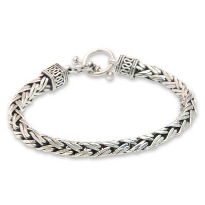 Men's sterling silver braided bracelet, 'Passion' - Men's Sterling Silver Chain Bracelet