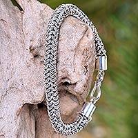 Sterling silver braided bracelet, 'Togetherness' - Handmade Sterling Silver Bracelet from Indonesia