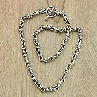 Sterling silver chain necklace, 'Eight Motif'