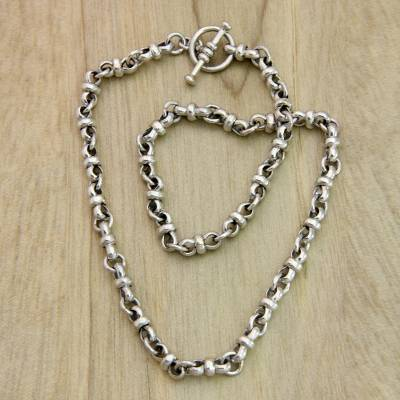 Sterling silver chain necklace, 'Eight Motif' - Artisan Jewelry Sterling Silver Necklace