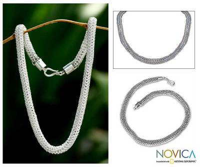 Sterling silver chain necklace, 'Links Together' - Sterling Silver Chain Necklace from Indonesia
