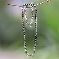 Sterling silver chain necklace, 'Look Smart'