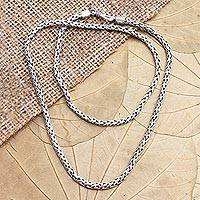 Sterling silver chain necklace, 'Rice Seeds'