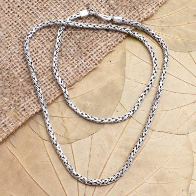 Sterling silver chain necklace, 'Rice Seeds' - Handmade Sterling Silver Chain Necklace