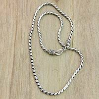 Sterling silver chain necklace, 'Silver Sleek' - Sterling Silver Chain Necklace