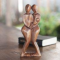 Wood sculpture, 'Happy Family' - Suar Wood Family Sculpture