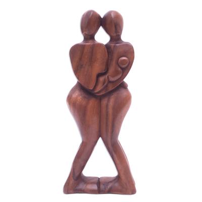 Wood sculpture, 'Happy Family' - Suar Wood Sculpture
