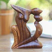 Wood statuette, 'Elegant Kiss' - Handcrafted Romantic Wood Sculpture